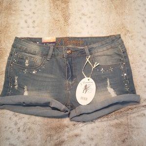 J.Creations Denim Collection Embellished Shorts